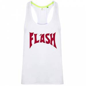 URBAN SHAOLIN Men's Flash Gorden (Freddie Mercury) Inspired Sports Performance Vest Top, Xtra Large, White with Red Trim