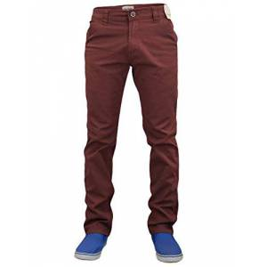 Jack South Mens Chinos Trousers Slim Fit Jeans Stretch Straight Leg Pants Work Bottoms Booho Wine 38R