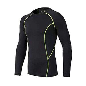 BUYKUD Men's Long Sleeve Base Layer Compression Athletic Tights Thermal Underwear Baseball Soccer Top Shirt Green