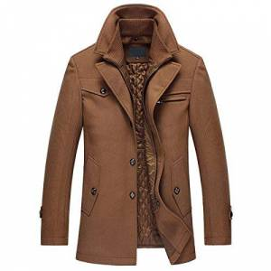 YOUTHUP Mens Coats Regular Fit Wool Winter Jackets Mid-Length Warm Trench Coat , Brown, L