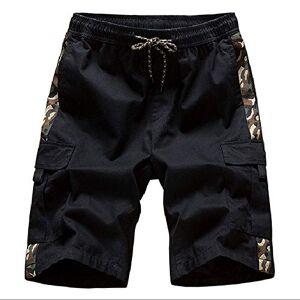 Summer Men's Sports Casual Beach Shorts Pure Cotton Loose Casual Pants Men's Trousers Large Black