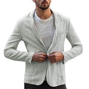 EUCoo Mens Slim Fit Linen-Wool Windowpane Sport Coat Winter Jacket - Grey - L