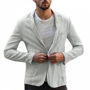 EUCoo Mens Slim Fit Linen-Wool Windowpane Sport Coat Winter Jacket - Grey - L