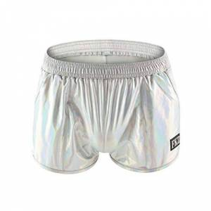 Emmay Shorts Men's Summer Bright Shorts Leather Patent Essential Shorts Home Fresh Iridescent Hotpants Light Fashion Home Pants (Color : Silber, One Size : L)