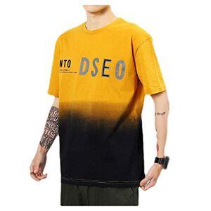 CuteRose Men Summer Gradient Ramp Short Sleeve Letter Printed Crew-Neck Shirt Top Yellow L