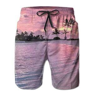 Summer Beach Shorts Men's Swim Trunks Hawaii Beach Sunset Surfing Beach Board Shorts Swimwear XLarge