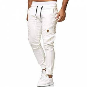 Camo Cargo Pants Mens Skinny Stretch Elasticated Waist Trousers Multical Pocket Gym Sweatpants Bodybuilding Workout Goosun Slim fit Chino Jogger Trousers Plus Size M-4XL White