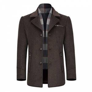 Allthemen Mens Wool Trench Coat Short Winter Warm Woolen Business Jacket Thicken Outerwear Trenchcoats Brown
