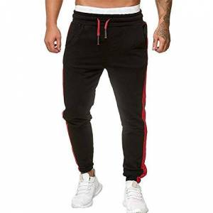 Auied Summer Fashion New Men Sport Sweatpants Pants Casual Long Trousers Tracksuit Fitness Workout Joggers Elasticated Waist Running Slim Fit Pants Black