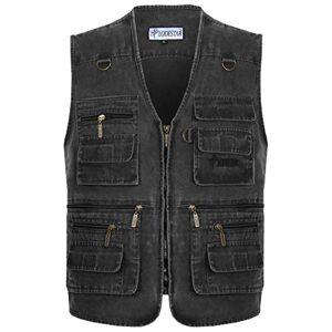 NMBMN Mens Spring Summer Outdoor Cotton Gilet Vest Multi-Pocketed Waistcoat Traveling Photography Any Adventure Vest Jacket Tops (Medium, Dark Grey)