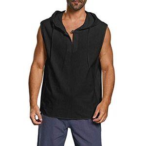 iYmitz Men's Hoodies, Men's Loose Large Size Solid Color Button Cotton Sleeveless Hooded Vest Men's Casual Sleeveless Sweatshirt Hip Hop Short Sleeveless Pullover Hoodies t ShirtsBlack,3XL