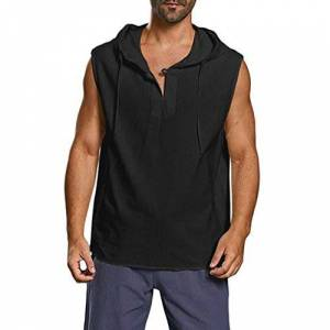 iYmitz Men's Hoodies, Men's Loose Large Size Solid Color Button Cotton Sleeveless Hooded Vest Men's Casual Sleeveless Sweatshirt Hip Hop Short Sleeveless Pullover Hoodies t ShirtsBlack,3XL