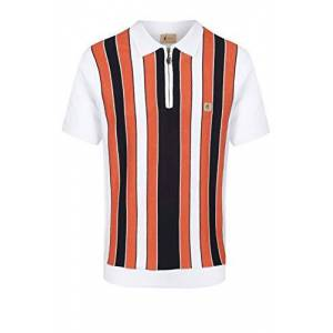 Gabicci Colt Multi Stripe Zip Neck Polo Shirt White XXLarge