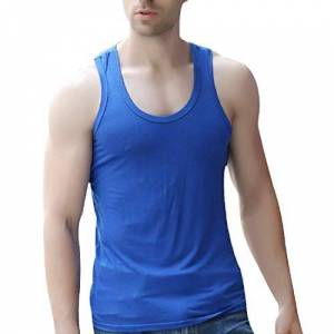 MU2M Men Stretchy Casual Scoop Neck Solid Color Gym Workout Tank Tops Vest 6 US 3XL