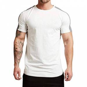 Magiftbox Mens Essential Short Sleeve Workout Tee Casual T-Shirts for Gym Training Jogging T19_White_US-S_UK