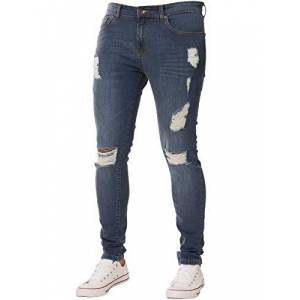 New Mens Skinny Jeans Ez383 Super Stretch Ripped Style Denim Pants Trousers (38R, EZ383 Mid Stonewash)
