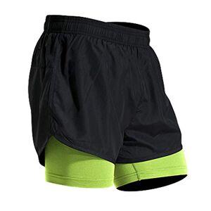 Mens Casual Shorts Pants,Mens Fitness Fake Two Pieces Bodybuilding Skin Tight-Drying Short Sports Pants Trousers Sweatpants Basketball Shorts Jogger Cargo Shorts Green