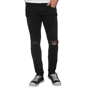 New Mens Skinny Jeans Ez383 Super Stretch Ripped Style Denim Pants Trousers (38R, EZ383 Black)