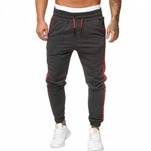 Yourgod Mens Joggers Pants - Mens Zip Casual Gym Workout Track Pants Slim Fit Classic Sportwear Jogging Outdoor Pants Harem Elastic Waist Trousers Dark Gray