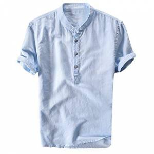 Mens Shirt, TUDUZ Men Plain Grandad Collarless Casual Shirts Original Slim Fit Stand Neck Long Sleeve Daily Look Linen Shirts Tops Blouse(Ya Blue,L)