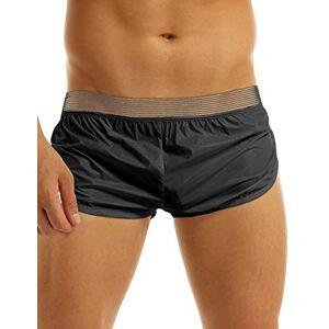 YiZYiF Mens Summer Swim Shorts Wetlook Faux Leather Boxer Briefs Sports Short Pants Black Large