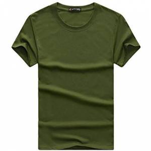 Summer Casual Solid Color Round Neck Loose Men's T-Shirt Short Sleeves Green