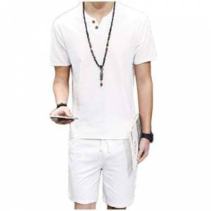 DressUMen mens Leisure Solid Linen Plus - Size Drawstring T - Shirt Top + Shorts Pants 6XL White