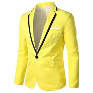 HOOUDO Men Blazer,Autumn Winter Sale Plus Size ClassicCasual Formal Slim Fit Solid V Neck One Button Business Party Tuxedo Jackets Suits Coat Yellow