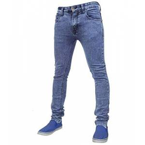 True Face Mens Jeans Skinny Denim Pants Stretch Fit Trouser Zip Fly Elasticated Cotton Bottoms Casual Wear 5 Pockets 021 Mid Blue Waist 38 R
