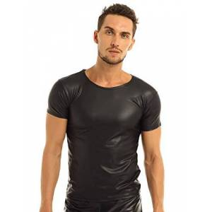YiZYiF Mens Black Faux Leather Like Sexy Short T-Shirt Undershirt Muscle Tops Clubwear Black Large