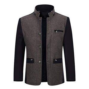 Allthemen Mens Wool Coat Slim Fit Long Jacket Long Sleeve Casual Warm Winter Trench Coats Outerwear Button Smart Overcoat Coats, Brown, XXL