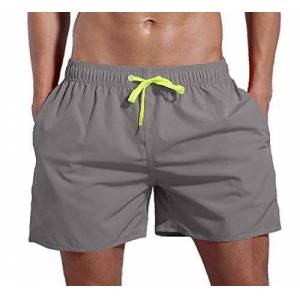 MU2M Men Elastic Waist Pockets Quick Dry Beach Shorts Boardshort Swim Trunk Grey US L