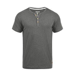 Solid Volker Men's T-Shirt Short Sleeve Shirt Tee with Grandad Collar, Size:L, Colour:Grey Melange (8236)