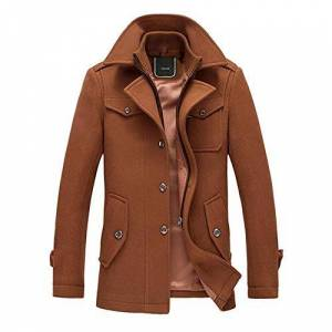 YOUTHUP Mens Coats Casual Winter Wool Jackets Regular Fit Trench Coat Tweed Outerwear Peacoats, Brown, XXL
