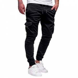 Mens Sports Casual Pants Drawstring Trousers,Fashion Men's Sport Pure Color Bandage Casual Loose Sweatpants Drawstring Pant Outdoor Walking Hiking Climbing Combat Cargo Trousers