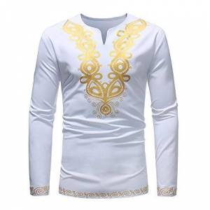 Man Top Shirt,Ronamick Men's Autumn Winter Luxury African Style Print Stand Collar V Neck Button Casual Long Sleeve Plus Size Dashiki Shirt Top Blouse (White 2, L)