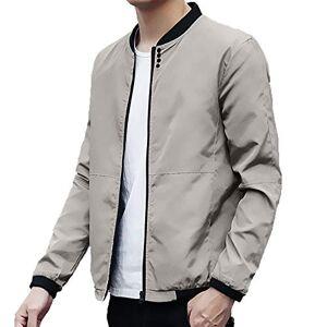 HARRYSTORE Men Clothing Mens Casual Jacket Zip Up Lightweight Bomber Flight Sportswear Jacket Windbreaker Softshell with Ribbing Edge Gray