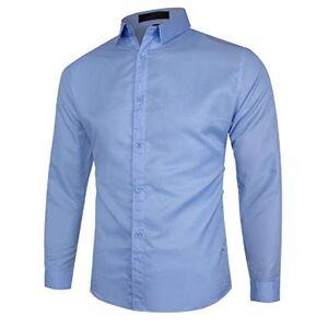 MU2M Men Long Sleeve Business Solid Dress Shirt Plus Size Casual Button Down Shirt Light Blue US L
