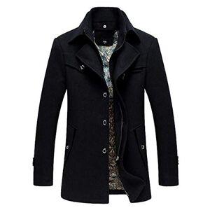BLFGNCOB Men's Thick Wool Coats Winter Jacket Warm Windproof Casual Overcoat Long Business Outwear Trench Coat Winderbreaker Black