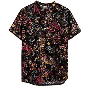 BALUOBO Men's Slim fit Short-Sleeve Print Henley T-Shirt Tee Summer Fashion Hawaiian Party Beach Causal Blouse Tops