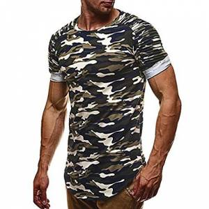 Camouflage Tops, Men's Casual Slim Short-Sleeved Shirt Top Blouse (M, Green)