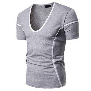 Summer Special Binding Design Large V Neck Men's Short Sleeve T-Shirt Grey