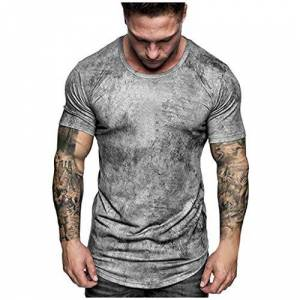 UULIKE Men's Short Sleeve Top Vintage Tie Dyed Round Neck Loose Fit T-Shirts Sport Fitness Breathable Cool Funny Comfortable Blouse Gray,Navy Size M-3XL