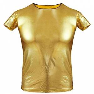 iiniim Mens Patent Leather Crew Neck T-Shirt Clubwear Wet Look Short Sleeves Clothing Gold Large