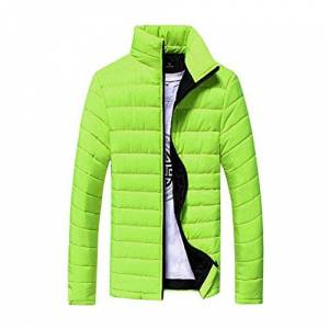 HARRYSTORE Men Lightweight Quilted Puffer Jacket Winter Cotton Casual Warm Stand Collar Slim Zipper Padded Thicken Coat Outwear M-5XL