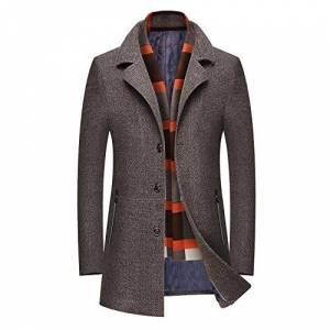 BLFGNCOB Men's Wool Blend Trench Coats Regular Fit Long Thick Warm Business Woolen Coat Winter Jacket, Outdoor Windproof Overcoat Brown