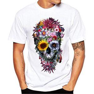 Men T-Shirt, Xinantime Fashion Men Printing Short Sleeve T Shirt Sport Tops Polo Blouse Slim Fit Summer Shirts Plus Size, Size S - 4XL (Asian Size:L, White)