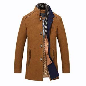 BLFGNCOB Men's Thick Wool Coats Winter Jacket Warm Windproof Casual Overcoat Long Business Outwear Trench Coat Winderbreaker, Brown02, S