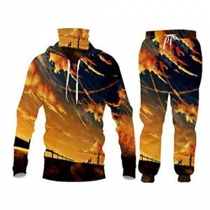 2 Pieces Sets Tracksuit Men Hooded Sweatshirt+Pants Pullover Sportwear Stand-Up Jacket Anime Sky Men Clothes MHPA70393 M