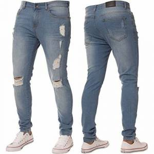 New Mens Skinny Jeans Ez383 Super Stretch Ripped Style Denim Pants Trousers (38R, EZ383 Light Stonewash)